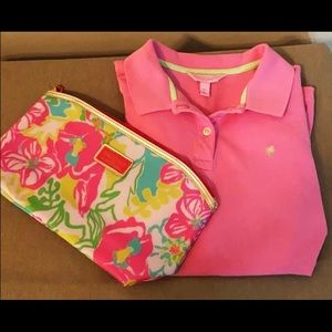 Lilly Pulitzer Pink Polo shirt & Cosmetic Bag Set